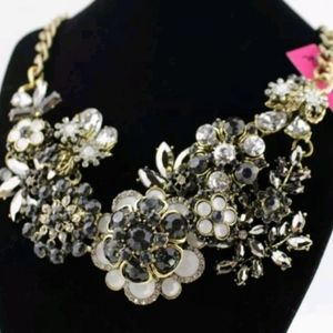 Betsey Johnson Black Floral Design Rhinest